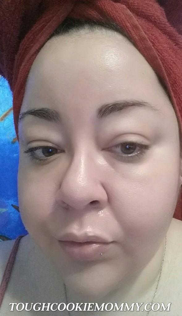 Wearing the Anti-Blemish Facial Wash as a Facial Mask.