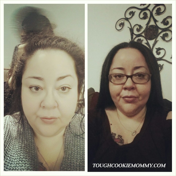 *The before and after of my blow out and pampering.  Please note that this is NOT the result of using Women's Rogaine.