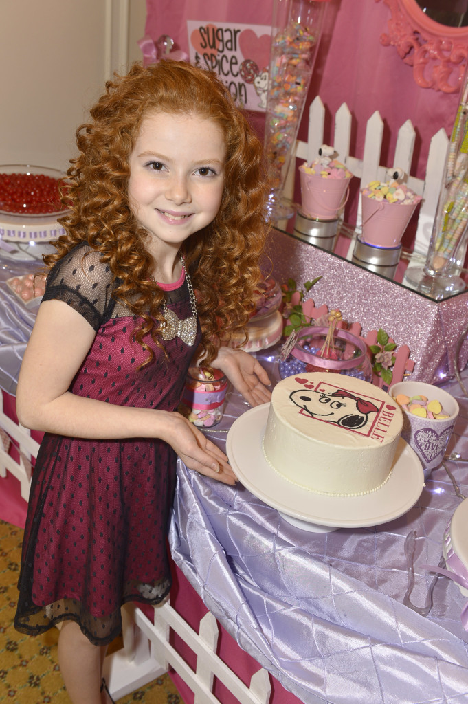 10-year-old actress Francesca Capaldi was sweet on the beautiful Snoopy and Belle Valentine's cakes at her pre-Valentine's party. You can make this same cake using the Park Hyatt's recipe, and if you win my giveaway, one of the delicious DecoPac Snoopy or Belle toppings will be included!