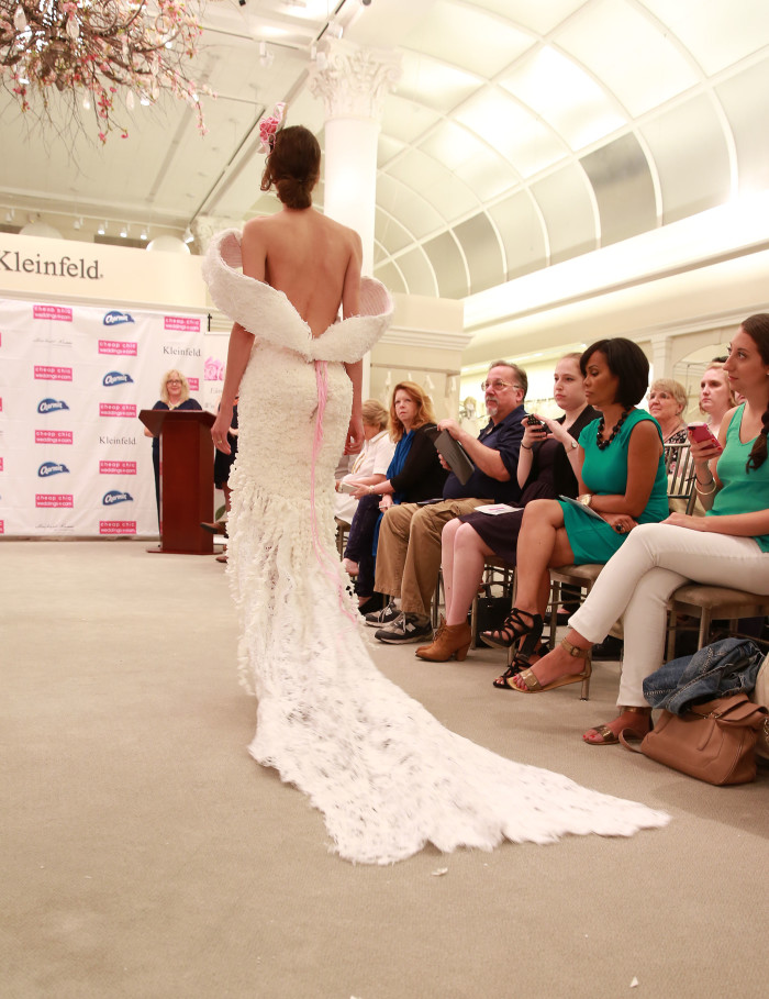 The 11th Annual Toilet Paper Wedding Dress Contest presented by Cheap Chic Weddings and Charmin, will be turned into a ready-to-wear design by a Kleinfeld Bridal designer, on Wednesday, June 17, 2015 in New York. (Amy Sussman/AP Images for Charmin)