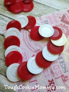 Valentine's Day Poker Chip Heart Wreath