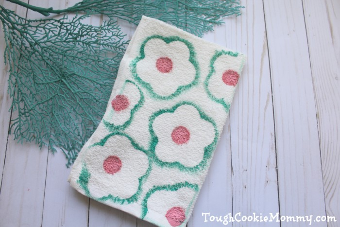 DIY Hand Stamped Flower Towel