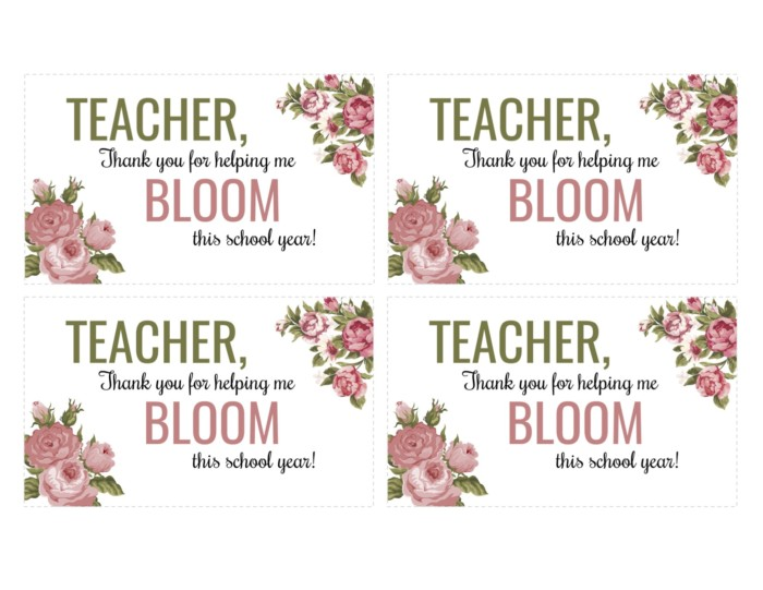 Bloom Teacher Gift Tag Printable